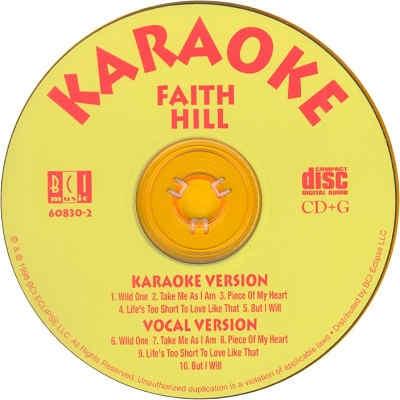 BCI Eclipse Karaoke BC830 - Label - Faith Hill