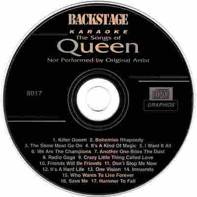 Backstage Karaoke BS8017 - Label - Queen Hits