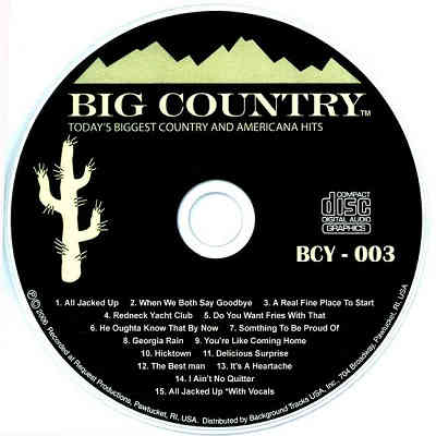 Big Country Karaoke BCY003 - Label - song lists