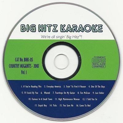 Big Hitz Karaoke BH0315 - Label - big hitz downloads