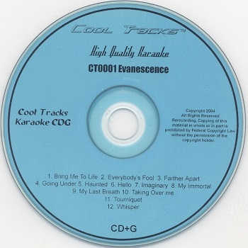 Cool Tracks Karaoke - CTK0001 - CDG Disc Label