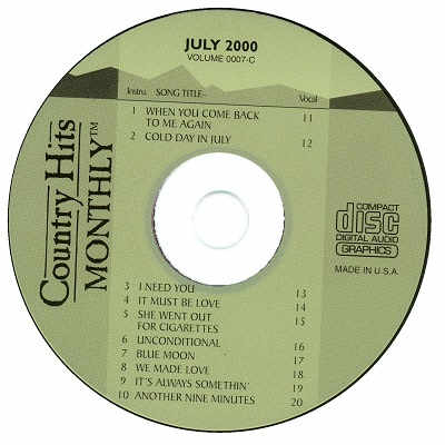 Country Hits Monthly Karaoke - CHM0007 - CDG Disc Label