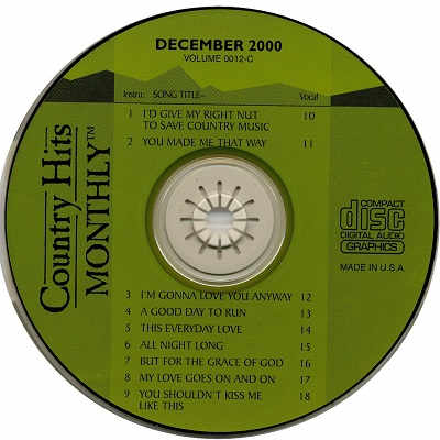 Country Hits Monthly Karaoke - CHM0012 CDG Disc Label