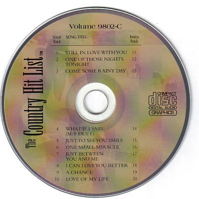 Country Hits Today Karaoke CHT9802 CDG Disc Label
