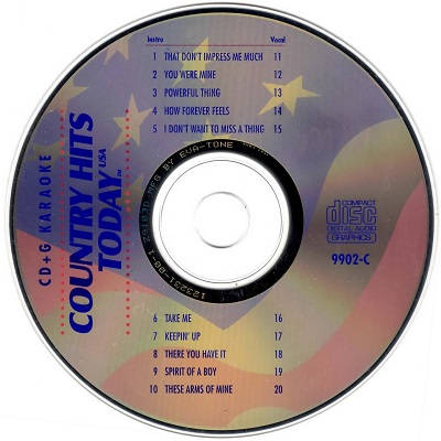 Country Hits Today Karaoke - CHT9902 - CDG Disc Label