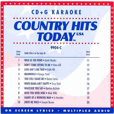 Country Hits Today Karaoke CHT9904 CDG Disc Front