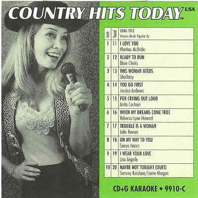 Country Hits Today Karaoke CHT9910 CDG Front