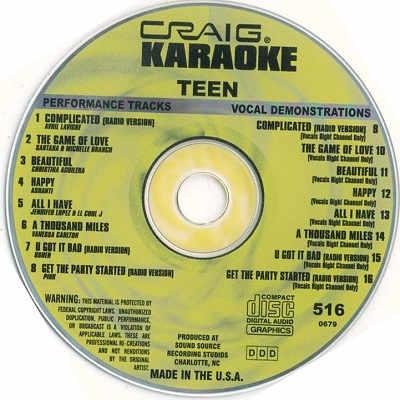 Craig Karaoke - CRK516 CDG Disc