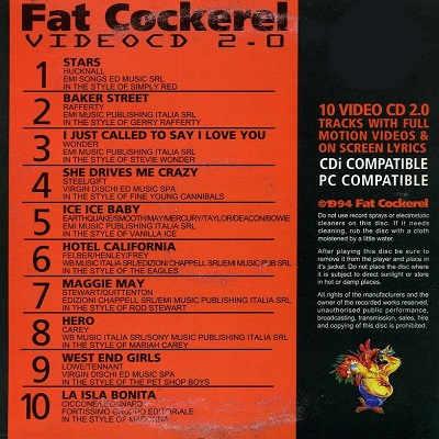 Fat Cockerel Karaoke Video CD - FCVCD01 Back