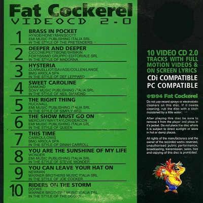 Fat Cockerel Karaoke Video CD - FCVCD02 Back