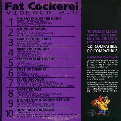Fat Cockerel Karaoke Video CD - FCVCD04 Back