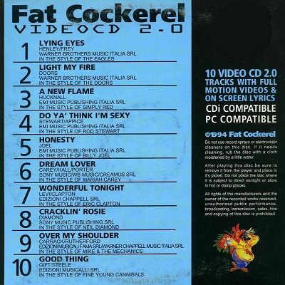 Fat Cockerel Karaoke Video CD - FCVCD05 Back