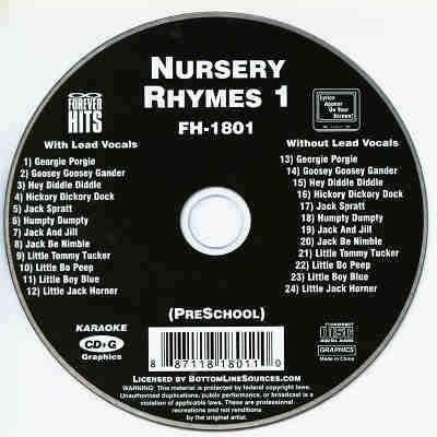 Forever Hits Karaoke FH1801 - Label - Nursery Rhymes CDG