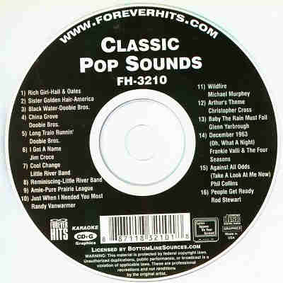 Forever Hits Karaoke FH3210 - Label Classic Pop Sounds CDG