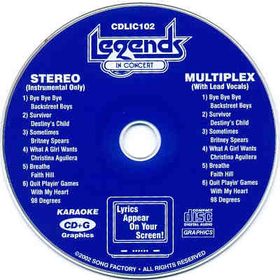 Legends Karaoke LIC102 - Label CDG