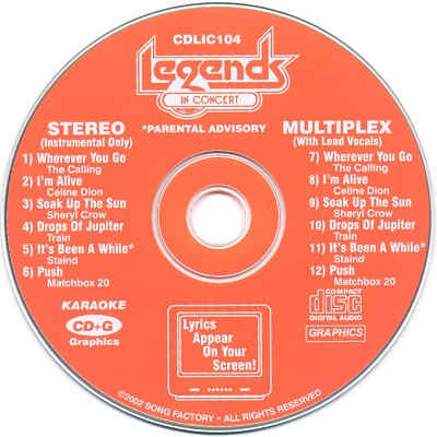 Legends Karaoke LIC104 - Label - track lists