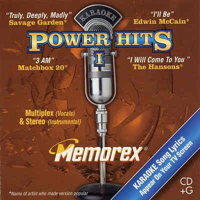 Memorex Karaoke MXPWH01 - Front - Power Hits - Karaoke Song Lists Available For Download