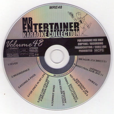 Mr Entertainer Karaoke MRE48 - Label - Song Books For KJ's