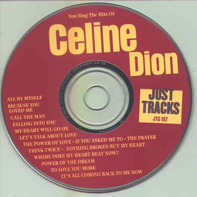 Pocket Songs Karaoke - Just Tracks JTG167 - Label - Celine Dion