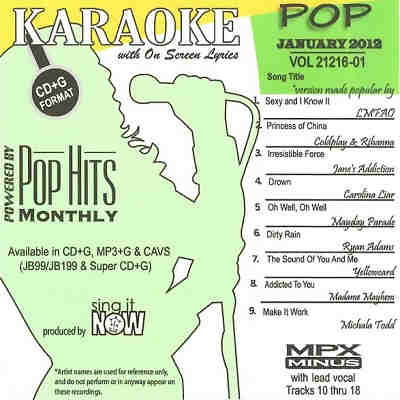 Pop Hits Monthly Karaoke PHM1201 - Front - CDG