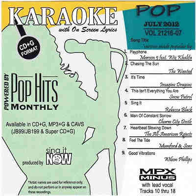 Pop Hits Monthly Karaoke PHM1207 - Front CD+G