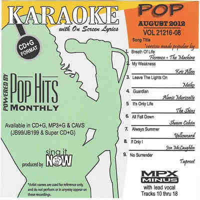 Pop Hits Monthly Karaoke PHM1208 - Front - DJ & KJ song books