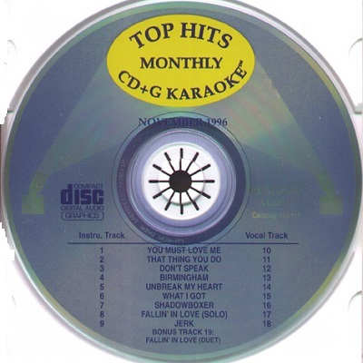 Pop Hits Monthly Karaoke PHM9611 - Label - song lists