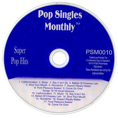Pop Singles Monthly Karaoke PSM0010 - KJ song lists