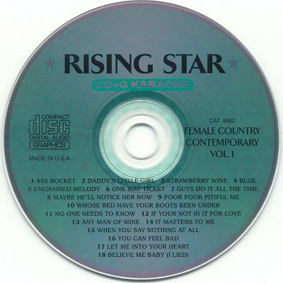 Rising Star Karaoke RS502 - Label CD+G