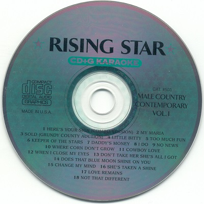 Rising Star Karaoke RS503 - Label - KJ song lists