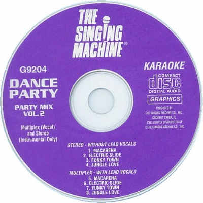 Singing Machine Karaoke SM9204 - Label CDG