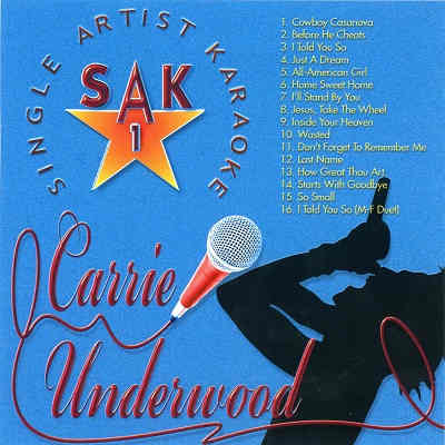 Single Artist Karaoke SAK001 - Front - KJ song lists