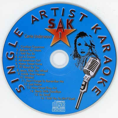 Single Artist Karaoke SAK001 - Label - CDG