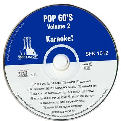 Song Factory Karaoke SFY1012 - Label - DJ & KJ song books and lists