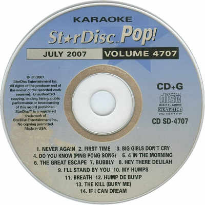 StarDisc Karaoke SD4707 - Label Star Disc song books