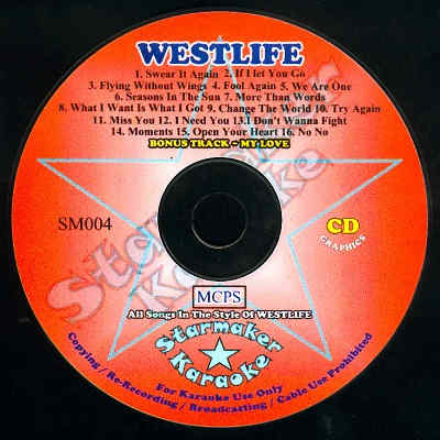 Starmaker SM004 - Label Westlife - DJ & KJ song books and lists