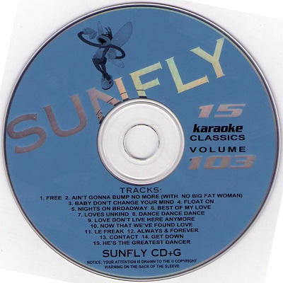 Sunfly Karaoke Disc SF103 - Label - DJ & KJ song books and track lists