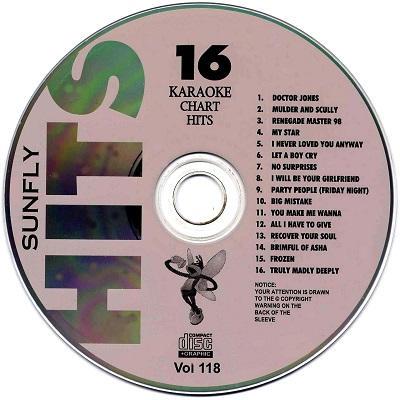 Sunfly Karaoke Disc SF118 - Label - CDG
