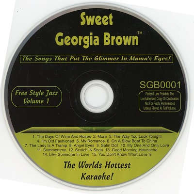 Sweet Georgia Brown Karaoke SGB01 - Label - DJ & KJ song books and track lists with disc identities