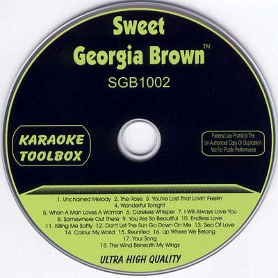 Sweet Georgia Brown Karaoke SGB1002 - Label - dj & kj SONG BOOKS AND LISTS