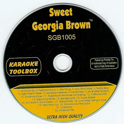 Sweet Georgia Brown Karaoke SGBTB1005 - Label - DJ & KJ song books and track lists