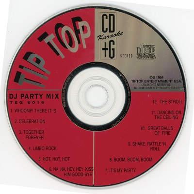 TipTop karaoke TEG6016 Label CDG