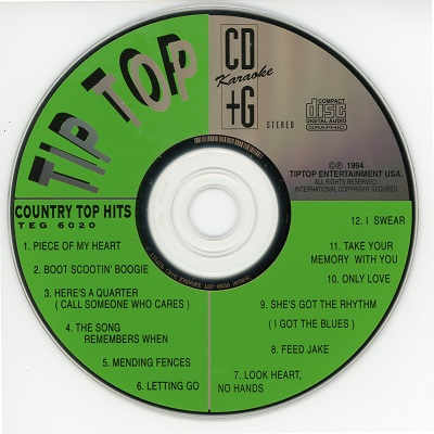 TipTop karaoke TEG6020 Label Tip Top CD+G