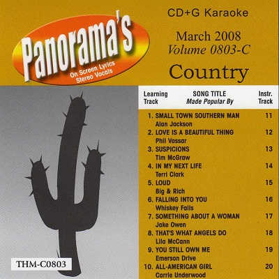 Top Hits Monthly Karaoke Country THC0803 - Front - DJ & KJ song books and track lists - disc identity