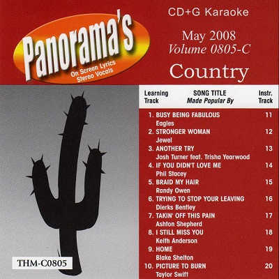 Top Hits Monthly Karaoke Country THC0805 - Front - CDG