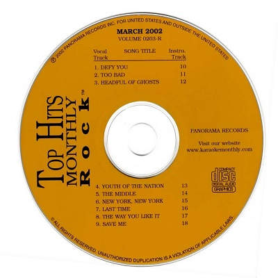 Top Hits Monthly Karaoke Rock THR0203 - Label - DJ & KJ song books and track lists - discs