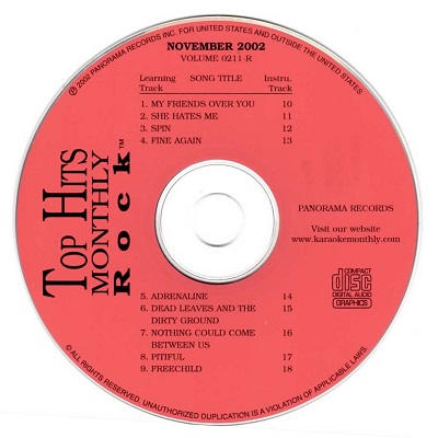 Top Hits Monthly Karaoke Rock THR0211 - Label CDG