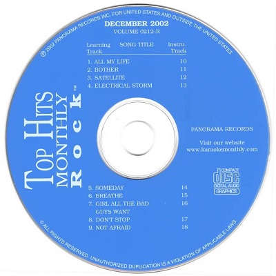 Top Hits Monthly Karaoke Rock THR0212 - Label cd+g