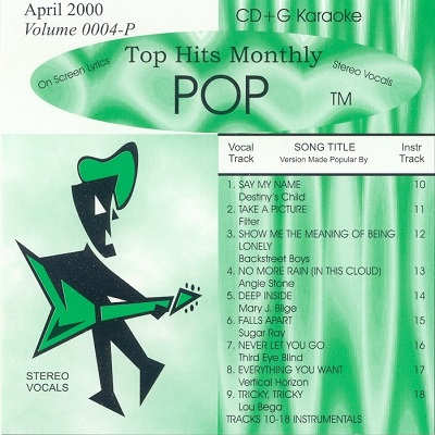 Top Hits Monthly Karaoke Pop THP0004 - Front - DJ & KJ song books and track lists including disc identity