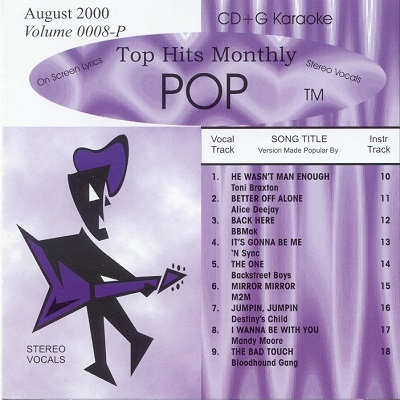 Top Hits Monthly Karaoke Pop THP0008 - Front CD+G